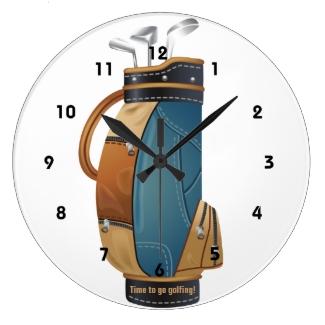 Golf Bag Design Wall Clock