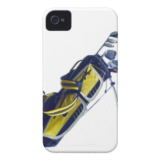 Golf bag with clubs on white background iPhone 4 case