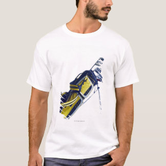 Golf bag with clubs on white background T-Shirt