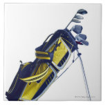 Golf bag with clubs on white background large square tile