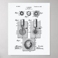 Golf Ball 1902 Patent Art - White Paper Poster
