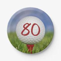 Golf ball 80th birthday paper plate