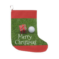 Golf ball and Christmas Present on green grass Large Christmas Stocking