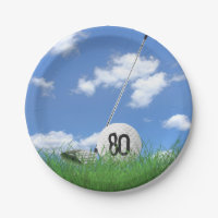 Golf Ball and club for 80th birthday Paper Plate