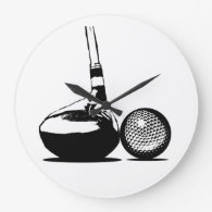 Golf Ball and Club Large Clock