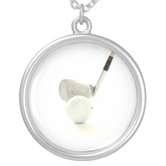 Golf Ball and Club Necklace