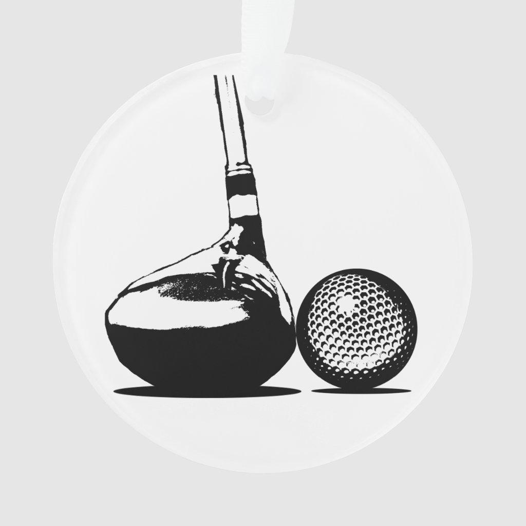 Golf Ball and Club Ornament