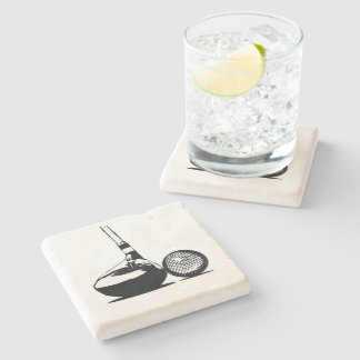 Golf Ball and Club Stone Coaster