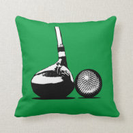 Golf Ball and Club Throw Pillow