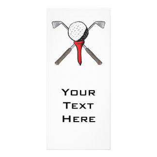 golf ball and clubs crossbones rack card