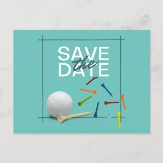 Golf ball and colorful tees on green mint pastel postcard