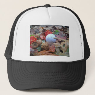 Golf Ball and fall leaves and acorns Trucker Hat