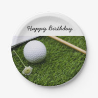 Golf ball and flower Happy Birthday paper plate
