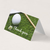 Golf ball and flower Thank you fold card