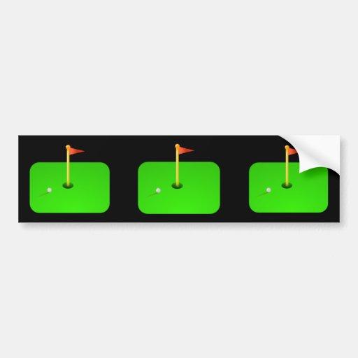 Golf Ball and Golf Flag Bumper Sticker