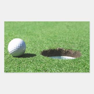 Golf Ball and Hole Rectangular Sticker