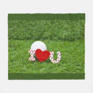 Golf ball and  I love you  sign on Valentine's Day Fleece Blanket