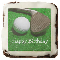 Golf ball and Iron on green Happy Birthday Brownie