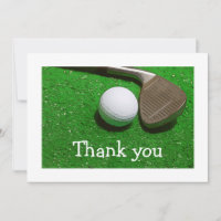 Golf ball and Iron on green Thank you card