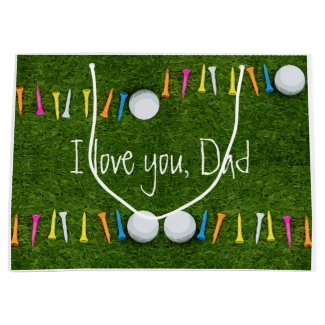 Golf ball and multi colour tees I love you dad Large Gift Bag
