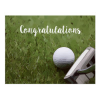 Golf ball and putter Congratulation Postcard