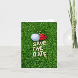 Golf ball and red roses on green grass for golfer invitation
