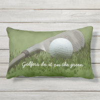 Golf ball and sand wedge golfers do it on green lumbar pillow