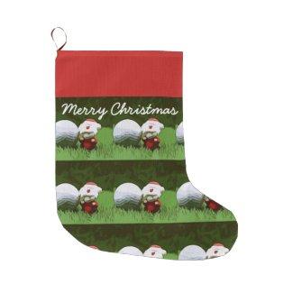 Golf ball and Santa Claus for Christmas to golfer Large Christmas Stocking