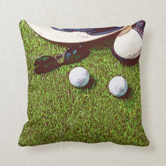 Golf ball and sun glasses watercolor throw pillow