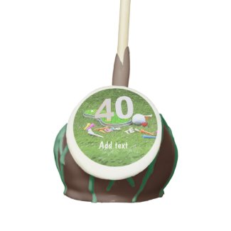 Golf ball and tee 40th birthday anniversary golfer cake pops