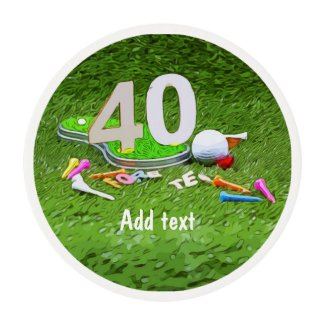 Golf ball and tee 40th birthday anniversary golfer edible frosting rounds