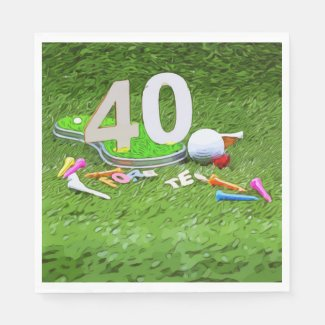 Golf ball and tee 40th birthday anniversary golfer napkins