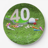 Golf ball and tee 40th birthday anniversary golfer paper plate