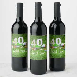 Golf ball and tee 40th birthday anniversary golfer wine label