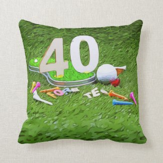Golf ball and tee 40th birthday anniversary throw pillow
