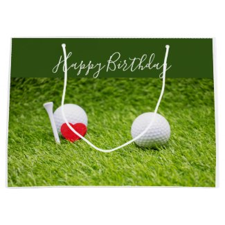 Golf ball and tee are on green with love birthday large gift bag
