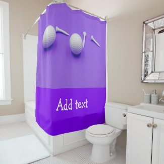 Golf ball and tee are on purple background shower curtain