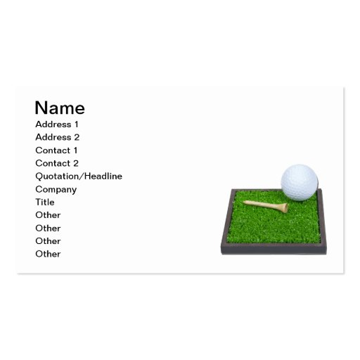 Golf ball and tee laying on grass business card template