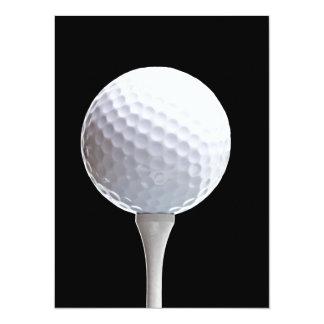 "Golf Ball and Tee on Black- Customized 5.5"" X 7.5"" Invitation Card"