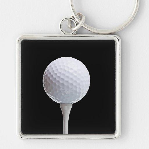 Golf Ball and Tee on Black- Customized Key Chain
