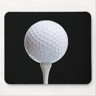 Golf Ball and Tee on Black- Customized Mouse Pads