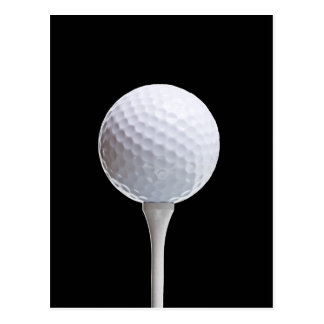 Golf Ball and Tee on Black- Customized Postcards