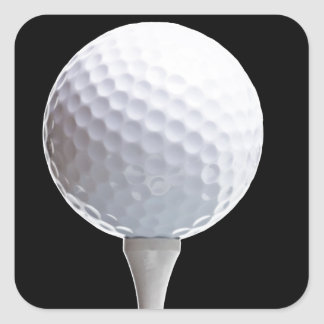 Golf Ball and Tee on Black- Customized Square Sticker