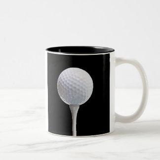 Golf Ball and Tee on Black- Customized Two-Tone Coffee Mug