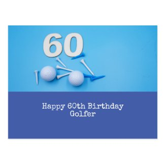 Golf ball and tee on blue for 60th birthday golfer postcard