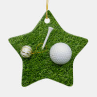 Golf ball and tee on grass for golfer Christmas Ceramic Ornament
