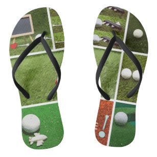 59e452e3fd1c Golf ball and tee on green Flip Flops
