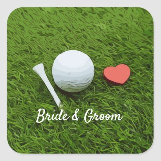 Golf ball and tee on green grass with love wedding square sticker
