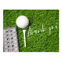 Golf ball and tee Thank you card