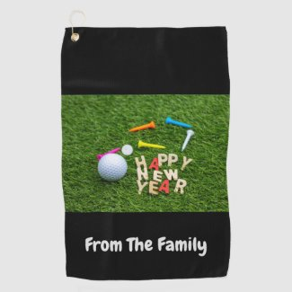 Golf ball and tee with Happy New Year on green Golf Towel